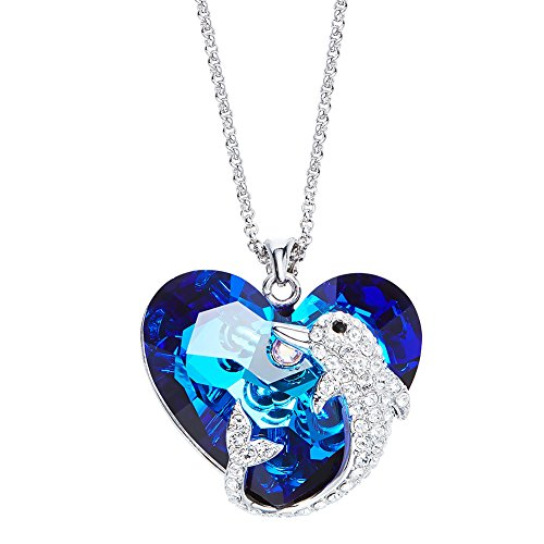 YJF Blue Ocean Dolphin Necklace Swarovski Crystal Heart Pendant with Elegant Jewelry Box