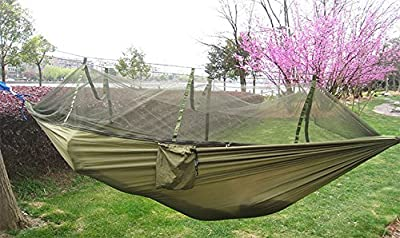 SZXKT Mosquito Net Outdoor Hammock Travel Bed Lightweight Parachute Fabric Double Hammock For Indoor, Camping, Hiking, Backpacking