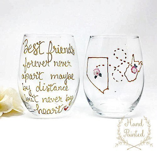 Best Friend Long Distance State Wine Glass with Quote, Personalize with States, Countries or Provinces, Stemless Wine Glass, Hand Painted by Brushes with a View (Image #4)