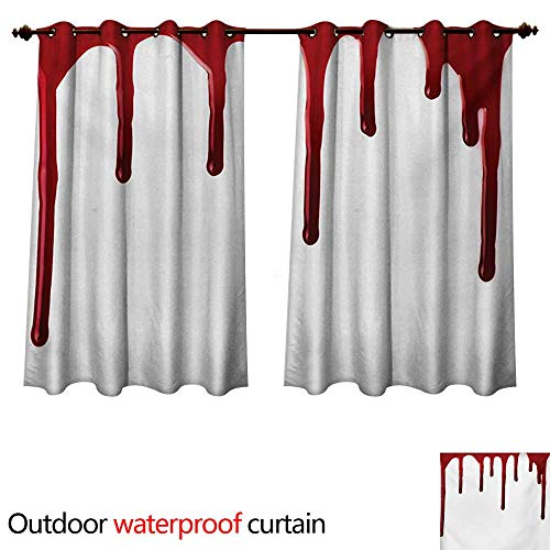 WilliamsDecor Horror Home Patio Outdoor Curtain Flowing Blood Horror Spooky Halloween Zombie Crime Scary Help me Themed Illustration W55 x L72(140cm x 183cm)]()