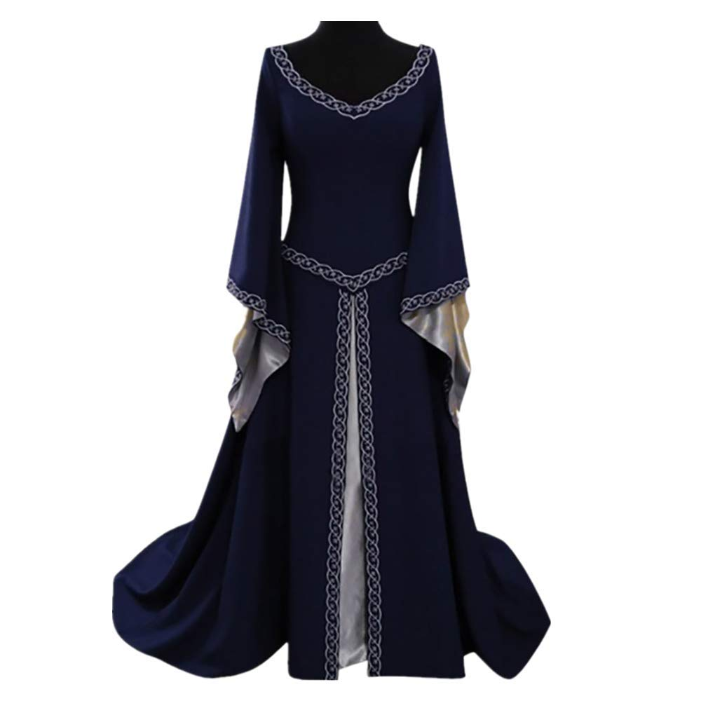 Medieval Queen Gown Victorian Renaissance Costume Cosplay Retro Dress Long Sleeve Dress for Women Blue by sweetnice Women Dresses