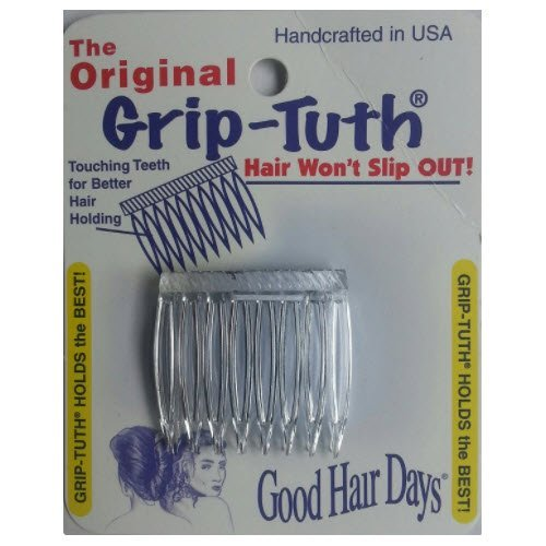 Good Hair Days Grip Tuth Hair Combs 40072 Set of 2, Clear 1 1/2