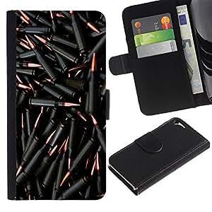Billetera de Cuero Caso del tirón Titular de la tarjeta Carcasa Funda del zurriago para Apple Iphone 5 / 5S / Business Style Bullets Gun Black Bling Wallpaper Shoot