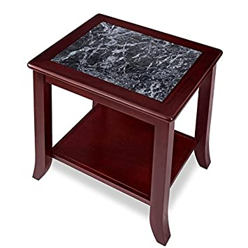 PrimaSleep PR22TB01D 22 H Natural Marble Top Solid Wood Base, Coffee Side End Sofa Table,Black Cherry Brown