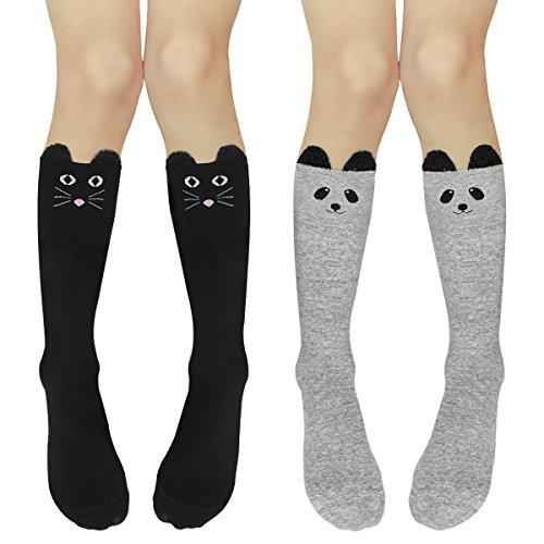 Casual Cotton Cute Animal Girls Socks Hippih kids Knee High Socks 2 pack