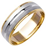 14K Two Tone (White and Yellow) Gold Center Stripe Men's Wedding Band (6.5mm)