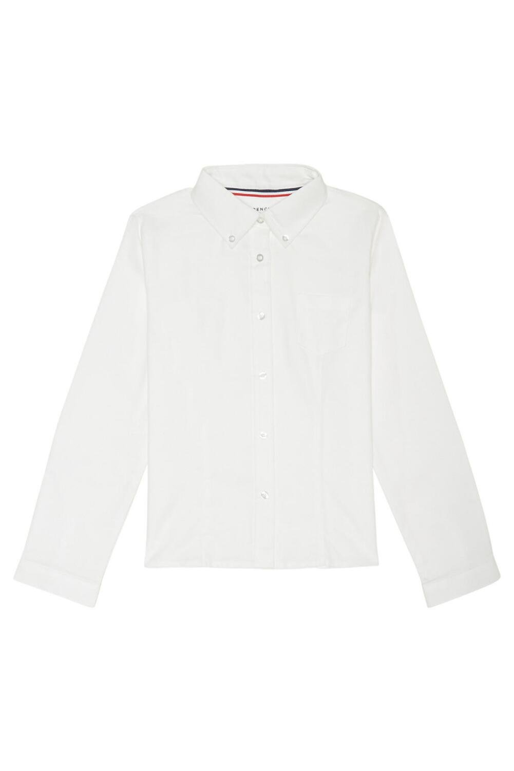 French Toast Big Girls' Long Sleeve Button Down Oxford, White, 12