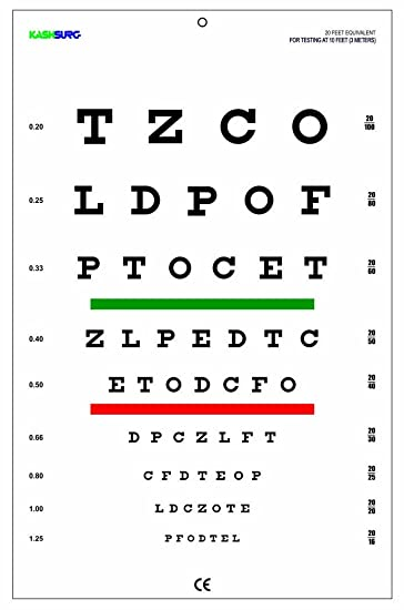 Amazon Snellen Chart With Red Green Lines 10 Feet Health