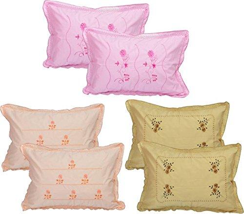 HSR Collection Pure Cotton 300TC Standard Size Multicolor Pillow Cover (Set of 6) - 18