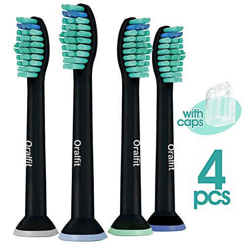 Standard Replacement Brush Heads for Philips Sonicare HX6014/13 ProResults (4, 8, 12 or 20 Pack)   Fits: Easyclean, DiamondClean, HealthyWhite, Flexcare   Black [4 Pack]