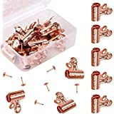 Alritz Metal Push Pin Clips, 30 Pack Bulldog Clips with Push Pins for Photos Pictures Papers Documents Used on Cork Boards, Bulletin Boards and Cubicle Walls, Rose Gold (Small)