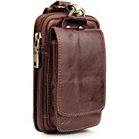 JOSEKO Genuine Leather Mobile Phone Camera 6 inches Outdoor Waist Bag for Men