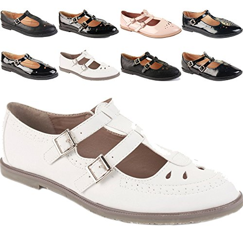 WOMENS LADIES GIRLS T BAR GEEKS FLAT CASUAL CUT OUT OFFICE RETRO VINTAGE PUMPS BROGUES SHOES SIZE Style 1 - White H4qoa8qj