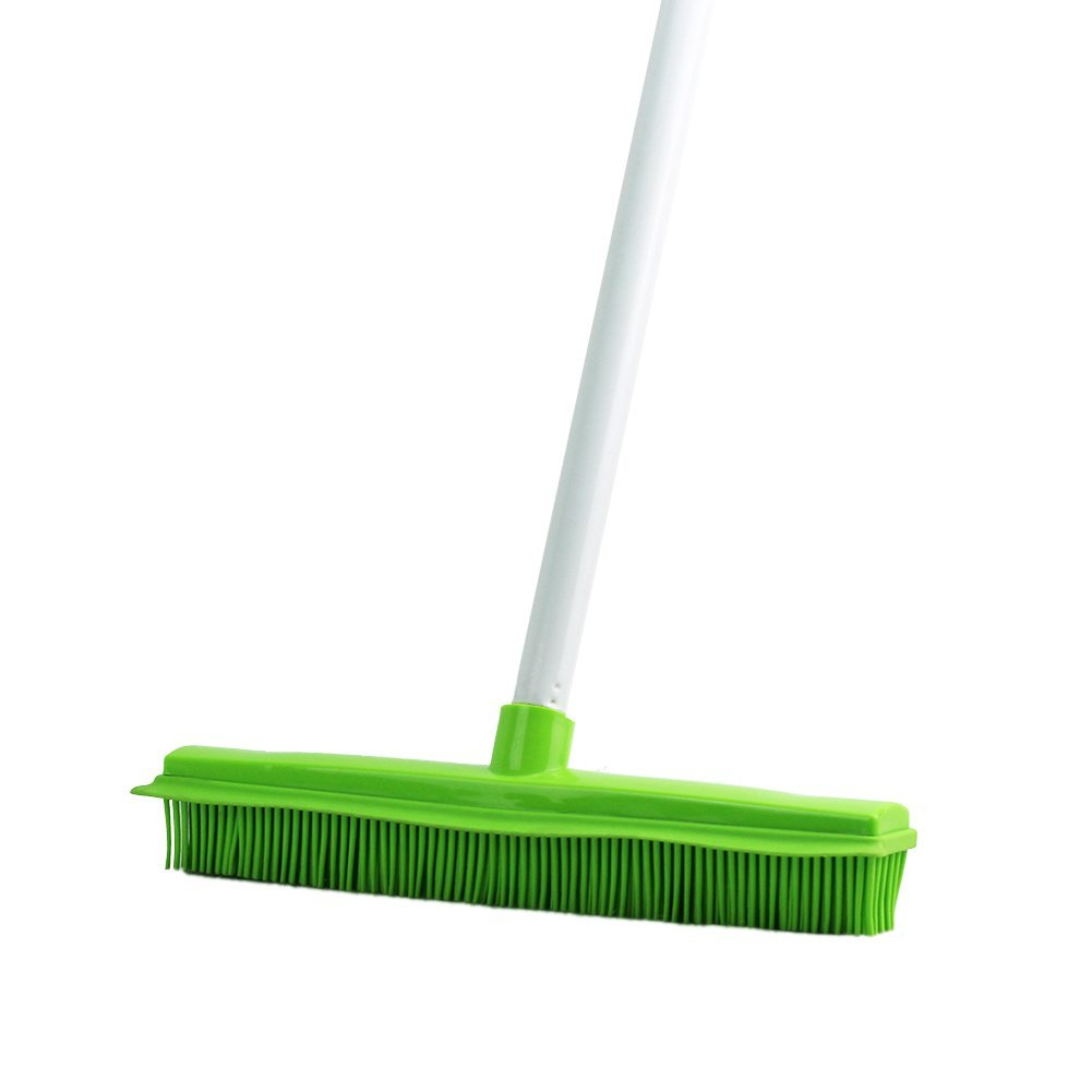 Long Handle Rubber Brush Push Broom with Soft Rubber Bristles and Squeegee Edge,Use for Pet Cat/Dog Hair Perfect for Cleaning Hardwood Vinyl Carpet (Multi Segment Handle) (Multi Segment Handle)