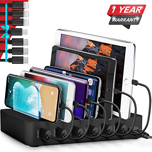 Poweroni USB Charging Station Dock - 6-Port - Fast Charge Docking Station for Multiple Devices - Multi Device Charger Organizer - Compatible with Apple iPad iPhone and Android Cell Phone and Tablet