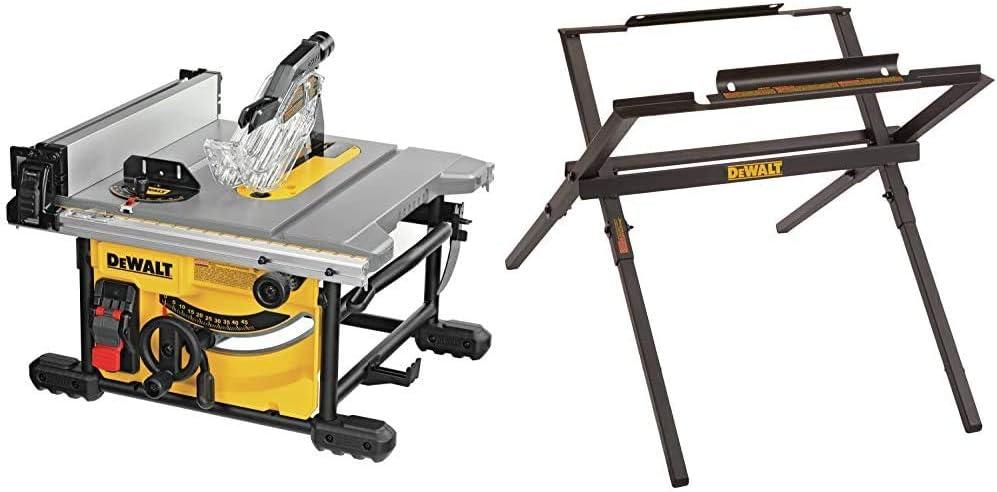 DEWALT Table Saw for Jobsite, Compact, 8-1/4-Inch (DWE7485) & Table Saw Stand for Jobsite, 10-Inch (DW7451)