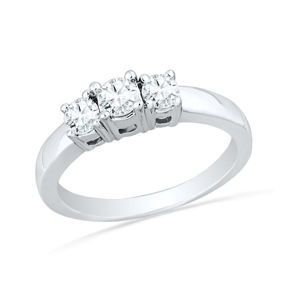 10KT White Gold Round Diamond Three Stone Ring (1/4 cttw)
