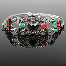 Dancing Zone Jewelry Vintage Jewelry Fashion Black Stones Inlaid Resin Totem Style Bracelets Bangles Women Demi Lovato Natural Obsidian Bracelet