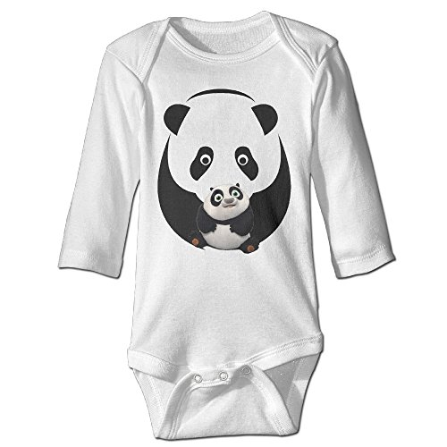 Alexx Panda Martial Arts Experts Newborn Jumpsuit Bodysuit Long-sleeve Romper White 6 M