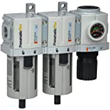 """PneumaticPlus PPC3C-N02G 3 Stage Air Drying System- Particulate Air Filter, Coalescing Filter & Air Pressure Regulator Combo 1/4"""" NPT (High Flow), Poly Bowl with Guard, Manual Drain, Embedded Gauge"""