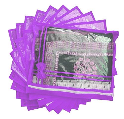 S4S® 10 Piece Non Woven Single Saree Cover  Purple