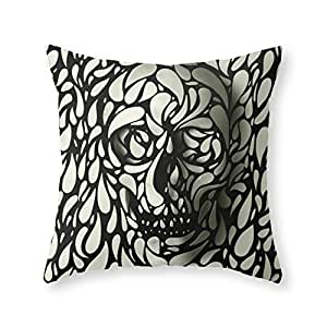 "Society6 Skull Throw Pillow Indoor Cover (16"" x 16"") with pillow insert"