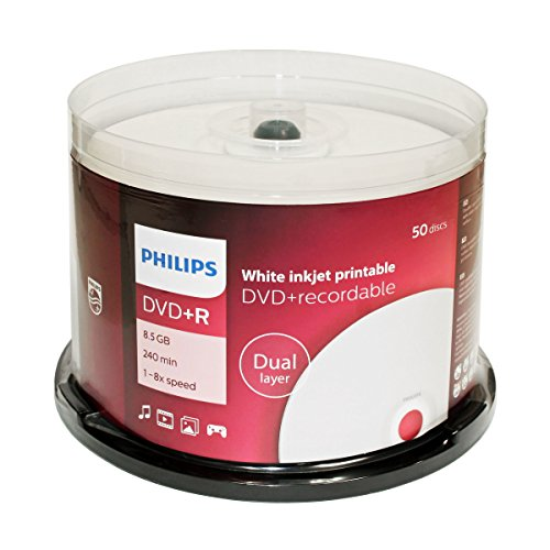 PHILIPS DVD+R 8.5G INKJET DUAL, LAYER,CAKE BOX, 50PKS, 600/CRN A2 by Philips (Image #1)