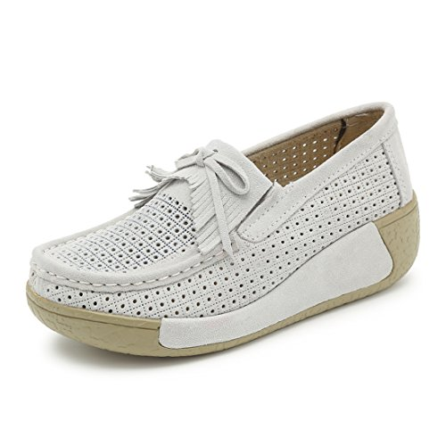 Z.suo Mocassins Femmes Suède Casuel Confort Chaussures Loafers Beige