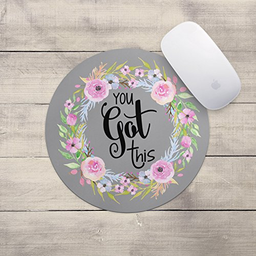 You Got This Floral Wreath Mouse Pad – Neoprene Inspirational Quote Mousepad, Office Space Decor, Home Office, Computer Accessories
