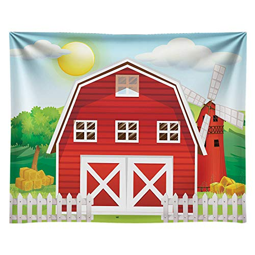 Funnytree 10x8ft Durable Fabric Cartoon Red Farm Animals Party Backdrop No Wrinkles Children Birthday Background for Photography Decorations Photobooth Banner Photo Studio Props