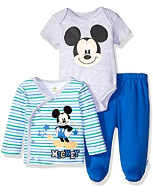 Disney Baby Boys' Mickey Mouse Jacket, Bodysuit, and Footed Pant Set