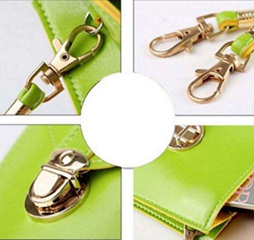 Women Shoulder Handbags Mini Bag yellow mint Pouch Single Crossbody green Cellphone Purse YaJaMa Leather BYdwqB