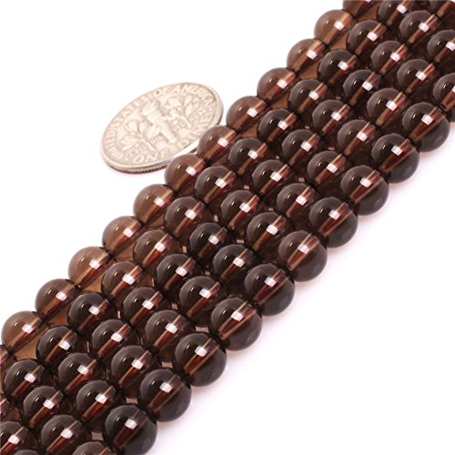 (Smoky Quartz Beads for Jewelry Making Natural Gemstone Semi Precious 6mm Round AAA Grade Dark Gray 15