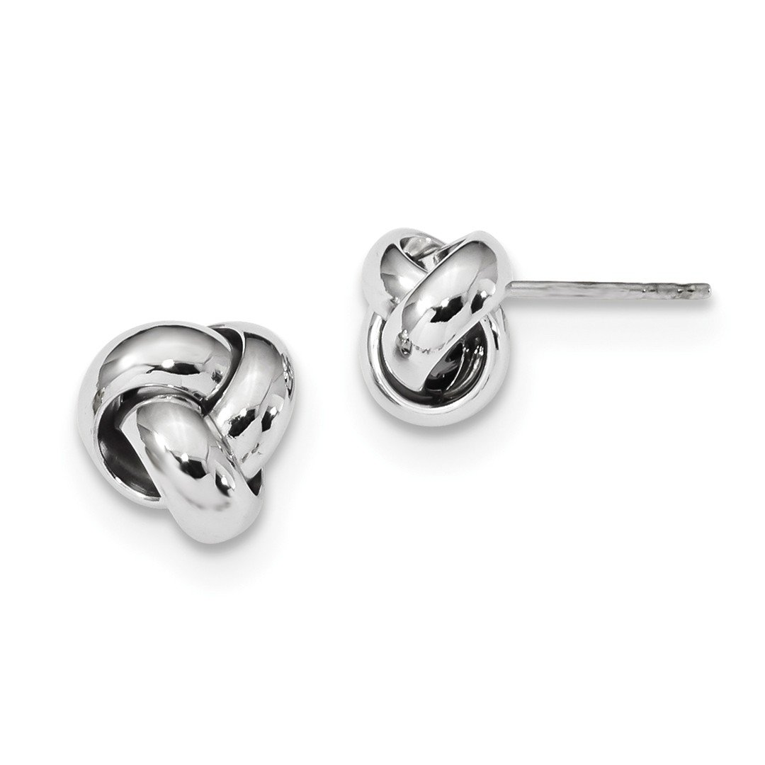 ICE CARATS 14k White Gold Love Knot Post Stud Ball Button Earrings Fine Jewelry Gift Set For Women Heart