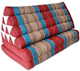 Thai triangle cushion XXL, with 2 folding seats, red/blue, sofa, relaxation, beach, pool, meditation, yoga, made in Thailand. (81217)