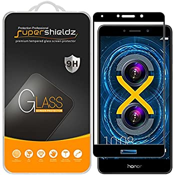 [2-Pack] Supershieldz For Huawei Honor 6X Tempered Glass Screen Protector, [Full Screen Coverage] Anti-Scratch, Bubble Free, Lifetime Replacement Warranty (Black)