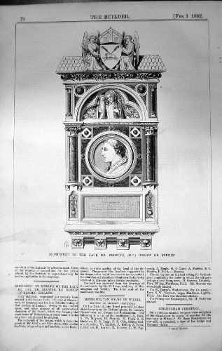 old-original-antique-victorian-print-monument-dr-browne-bishop-elphin-ireland-architecture-1862-buil