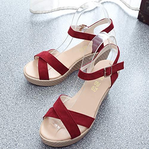 tacón Playa Mujer para de de Sandalias de Vestir Verano Rojo Peep Casual para Zapatos tacón Plataforma Alto Mujer Playa de Plataforma Toe Cuña de Mujer Alto Baño Sandalias Sandalias Vestir q0Rx8tY8