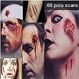 #10: Zombie Makeup Tattoos, Halloween Scar Tattoo, Zombie Makeup Kit, 3(Large)+5(Small) Pack Vampire Bite Tattoo, Fake Scar makeup,Halloween Makeup Kit,Waterproof fake blood tattoo, Safe Makeup for Kids