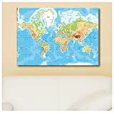 "Alonline Art - Physical Modern World Map Synthetic CANVAS Not framed +GIFT 35""x24"" - 88x61cm Wall Art Wall Decor Paints Pictures Paintings Prints Poster Giclee Posters"