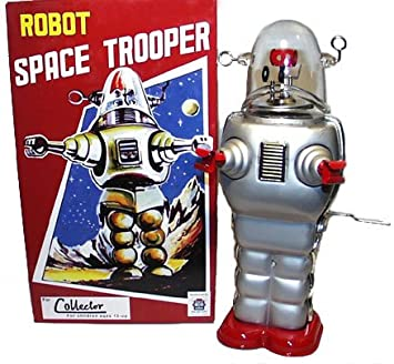 Robby the Robot Space Trooper Tin Toy Crank Wind SILVER
