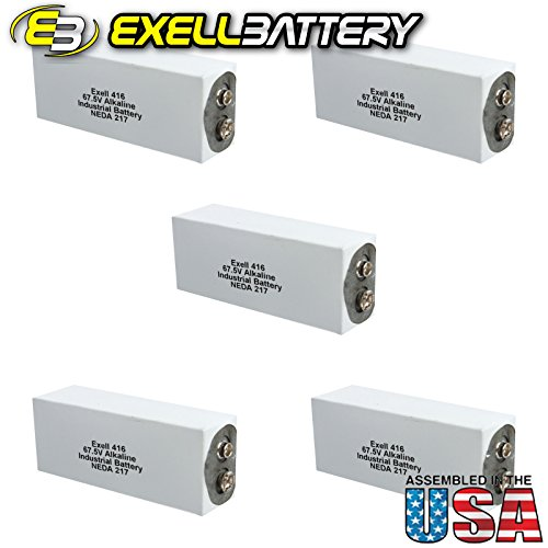 5pc Exell 416A Alkaline 67.5V Battery NEDA 217, A416, ER-416 by Exell Battery