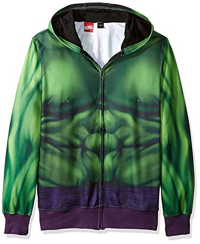 Marvel Men's Buff Hulk Sublimated Costume Hoodie, Green, Large