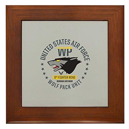 CafePress - USAF Wolf Pack 8Th Fighter Wing - Framed Tile, Decorative Tile Wall Hanging