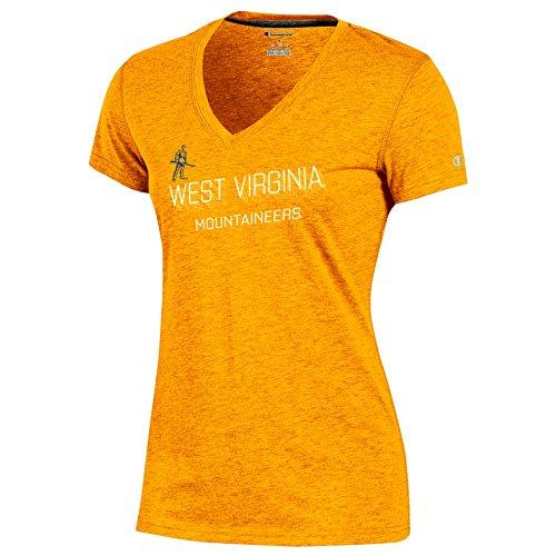 Champion Ncaa West Virginia Mountaineers Adult Women Short Sleeve V Neck Tee  Small  Gold Heather