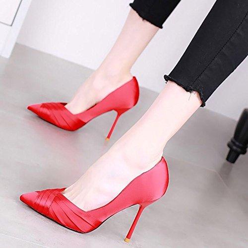 Tacon Primavera Alto Novia 11Cm Verano La Puntiagudas Zapatos De Zapatos gules Mujer Tacon KPHY Bien Salvaje Sandalias De Zapatos De Temperamento De x07twH