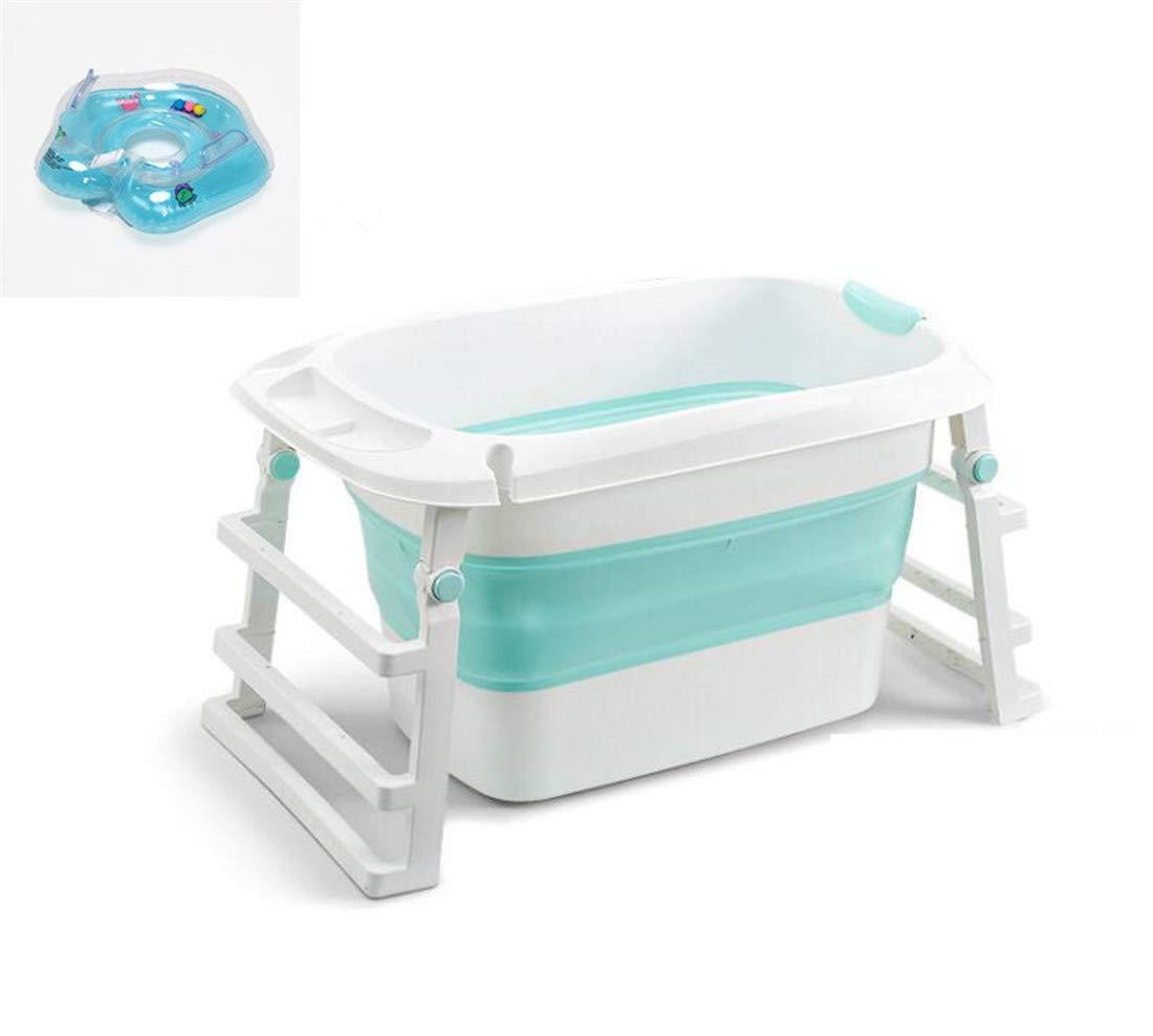 簡易浴槽 折畳み浴槽 バスタブプール 浴槽 お風呂の浴槽 子供用プール ベビーバス 赤ちゃん ベビーバスタブ 三段階+ベビー用 浮き輪(85*45*51cm)1-16歳  green B07SFYQZ95