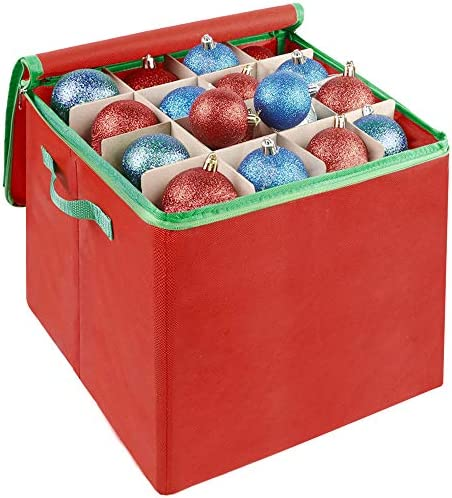 Lulu Home Christmas Ornament Storage Container, 600D Oxford Fabric Christmas Balls Storage Boxes, 4 Layers Ornament Storage Boxes Stores Up to 64 Ornaments with Zippered Closure and Two Handles, Red