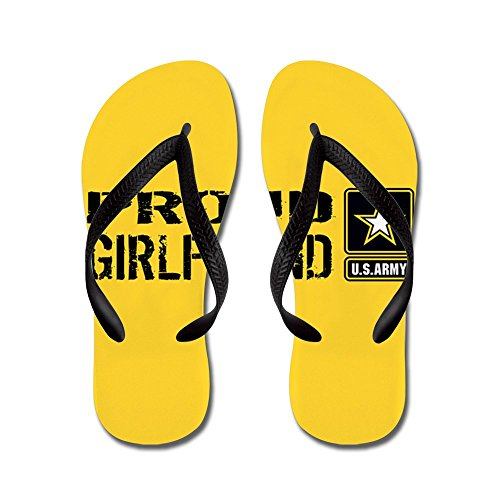 Cafepress Us Army: Proud Girlfriend (gold & Bla - Chanclas, Sandalias Thong Divertidas, Sandalias De Playa Negras