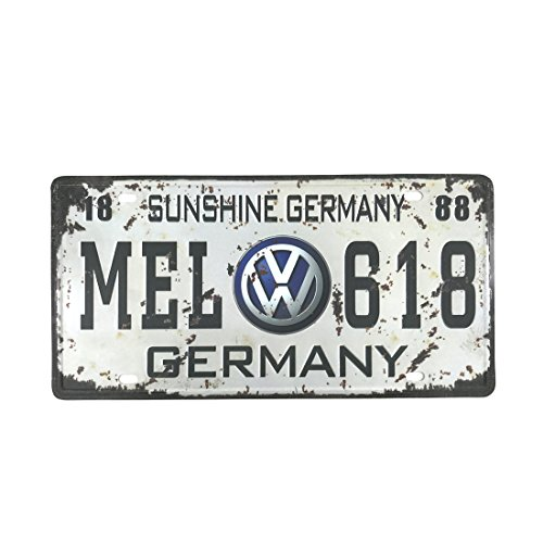 6x12 Inches Vintage Feel Rustic Home,bathroom and Bar Wall Decor Car Vehicle License Plate Souvenir Metal Tin Sign Plaque (GERMANY MEL - In College To Station Places Shop